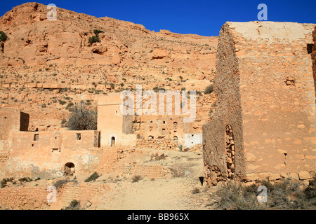 A ruined Berber village named Douiret in Tunisia - Stock Photo