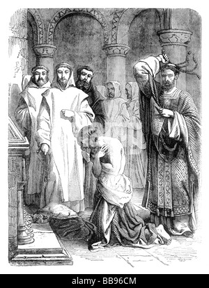 King Henry II doing Penance for the murder of Thomas Becket at the Tomb of Thomas Becket Canterbury Cathedral - Stock Photo