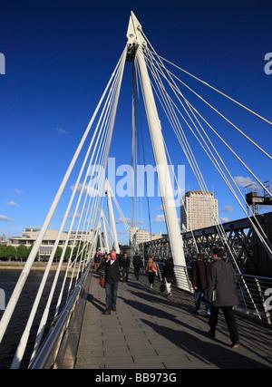 The Golden Jubilee Bridge pedestrian walkway. Hungerford Bridge, London, England, UK. - Stock Photo