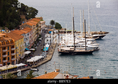 large sailing boats mored at Porto Santo Stefano on Monte Argentario, Grosetto Province Tuscany Italy - Stock Photo