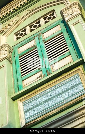 Singapore, Blair Road. Shophouse windows. - Stock Photo