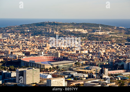 Camp Nou stadium and montjuic mmountain overview - Stock Photo