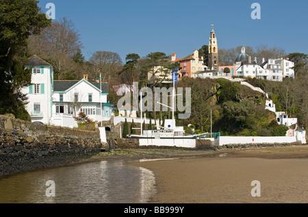 Village of Portmeirion, Near Porthmadog, Gwynedd, North Wales, UK - Stock Photo
