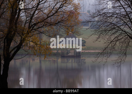 Magnificence of misty autumn mornings - Stock Photo