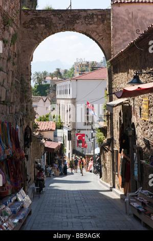 Typical street and shops in Kaleici (the OldTown) Antalya, Mediterranean Coast, Turkey - Stock Photo
