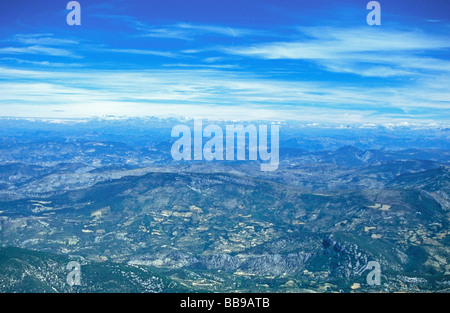 View from the summit of Mont Ventoux Provence looking towards the Alps - Stock Photo
