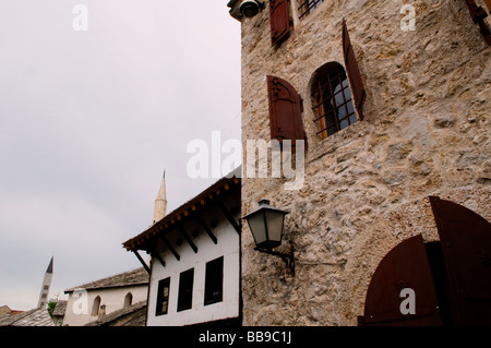 Old houses in the old town of Mostar in Bosnia Herzegovina - Stock Photo