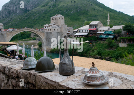 View of Stari Most a 16th-century Ottoman bridge over Neretva river in the city of Mostar in Bosnia Herzegovina - Stock Photo