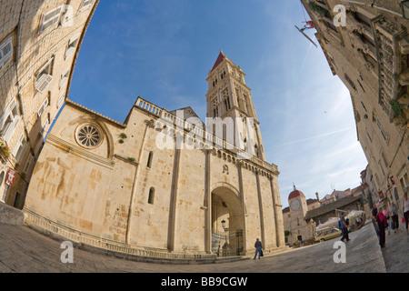 Cathedral of St Lawrence and town clock tower in Square John Paul II Trogir Dalmatian Coast Croatia Dalmatia - Stock Photo