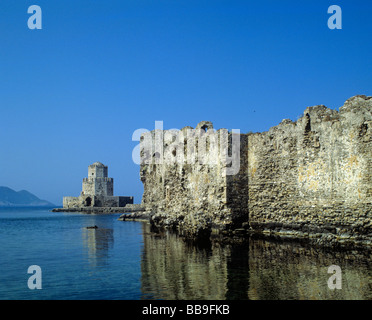 octagonal tower of bourtzi fortress of methoni town of methoni region of peloponnese greece - Stock Photo