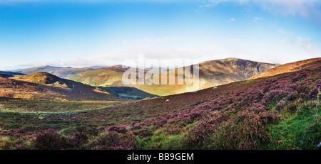 Panoramic image of Wicklow mountains Ireland - Stock Photo