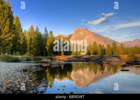 Early Sunset landscape view of Lembert Dome at Tuolumne Meadows, Yosemite National Park - Stock Photo