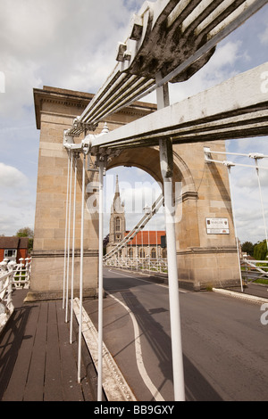 England Buckinghamshire Marlow 1829 suspension bridge over River Thames designed by William Tierney Clark - Stock Photo