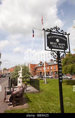 England Buckinghamshire Marlow High Street Best Kept Village winner plaques - Stock Photo
