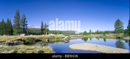 High resolution panoramic landscape view of Tuolumne River at Tuolumne Meadows. Yosemite National Park - Stock Photo