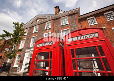 England Buckinghamshire Marlow High Street two traditional red K6 phone boxes - Stock Photo