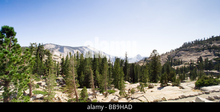 High resolution panoramic landscape View from Olmsted Point, Yosemite National Park - Stock Photo