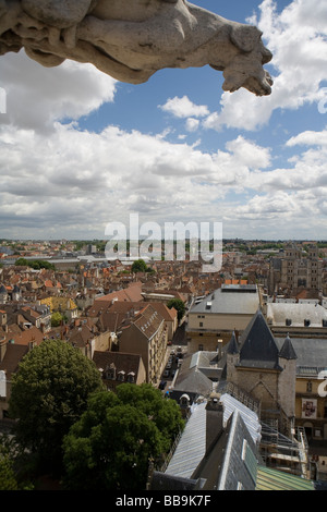 A gargoyle's view over Dijon from the Tower of Philip the Good on the Palace of the Dukes - Stock Photo
