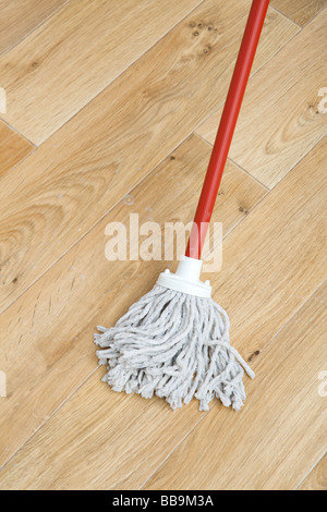 A red mop on floor - Stock Photo