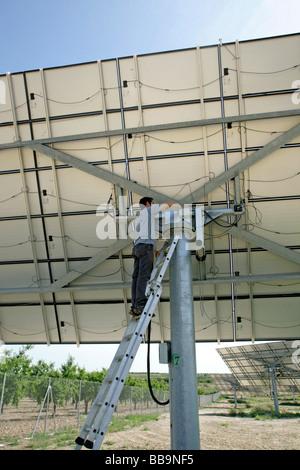 Solar panels reparation. Arbeca Lleida, Spain - Stock Photo