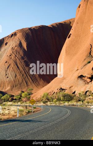 Road to Uluru (Ayers Rock).  Uluru-Kata Tjuta National Park, Northern Territory, AUSTRALIA - Stock Photo