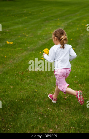 Little girl running across a lawn to collect dandelions for her bouquet. - Stock Photo