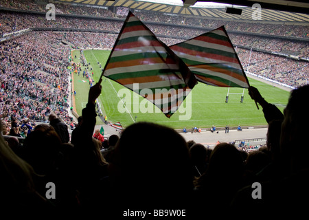 Two Leicester Tigers fans at the Guinness Premiership final in Twickenham stadium 2009. - Stock Photo