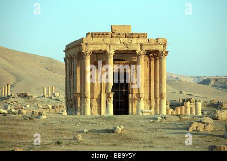 Roman Temple of Baal-Shamin and Arab Castle Qalaat Ibn Maan in Palmyra Syria - Stock Photo