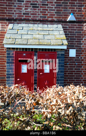 Wall mounted red letter box or Royal mail box - Stock Photo