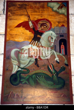 Painting of St George slaying a dragon on the wall in the new church St George's Monastery near Krak des Chevaliers - Stock Photo