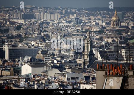 Paris rooftops seen from Montmartre - Stock Photo