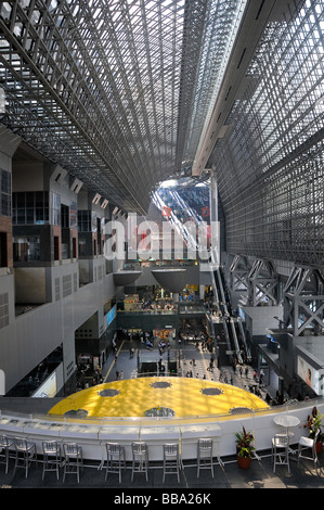 View into the main hall towards the west of Kyoto Station, Kyōto-eki, Japan, Asia - Stock Photo