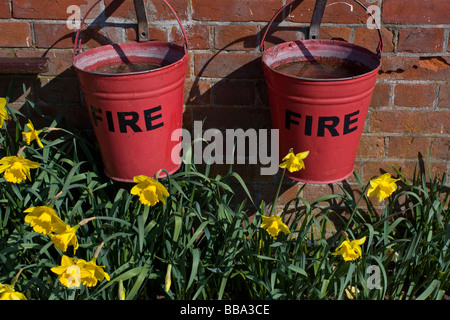Fire Buckets Isle of Wight Steam Railway Havenstreet - Stock Photo