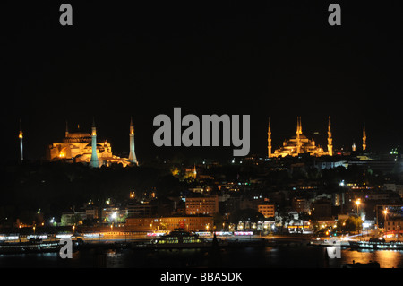 Istanbul at night .Hagia Sophia is on the left, the Blue Mosque, on the right. - Stock Photo