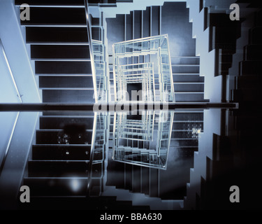 Kaleidoscopic image of stairway and its reflection. - Stock Photo