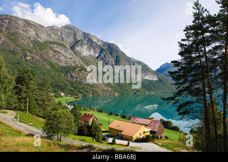 The village Veslebygda on Stryn lake, Strynvatnet, Norway, Scandinavia, Europe - Stock Photo