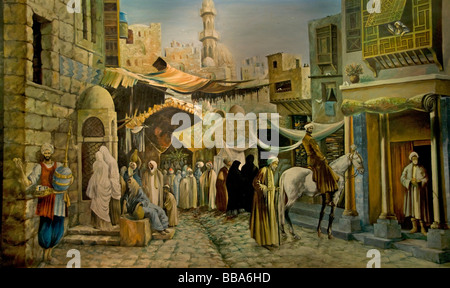 Khan el Khalili Islamic Cairo Egypt Bazaar Souk painting old market - Stock Photo