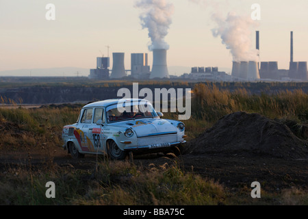 Skoda in front of the Boxberg power plant, vintage car, evening light, Lausitz Rally, motorsports, Saxony, Germany, - Stock Photo