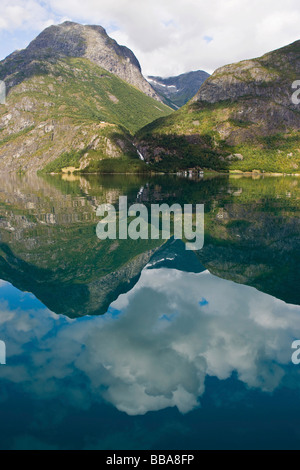 Lake Stryn, Strynvatnet, mountains, reflection in the water, Norway, Scandinavia, Europe - Stock Photo