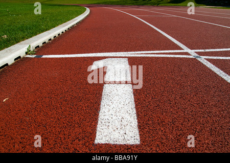 Running track number 1 in a stadium - Stock Photo