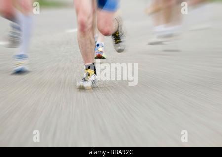 Marathon runner with motion blur - Stock Photo