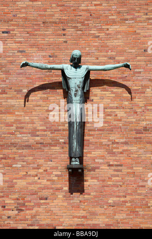 Sculpture of Jesus Christ on the cross at the Jesus Christ Church in Berlin, Germany, Europe - Stock Photo