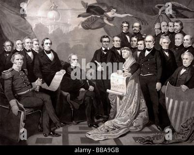 Union - illustration showing proponents of the USA not breaking apart before the USA Civil War circa 1860 - Stock Photo