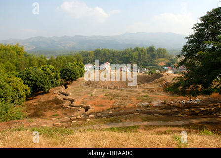 First Indochina war 1954, battlefield with trenches and a large bomb crater on the Mt A1, Dien Bien Phu, Vietnam, - Stock Photo
