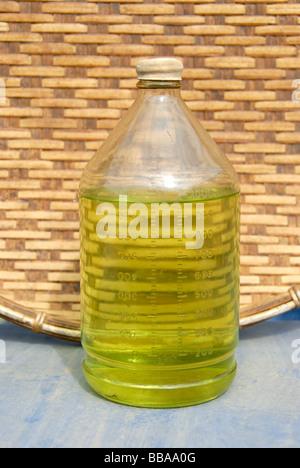 Alcohol, Green Lao Lao, Lao rice liquor in a glass bottle, Phongsali, Laos, Southeast Asia, Asia - Stock Photo