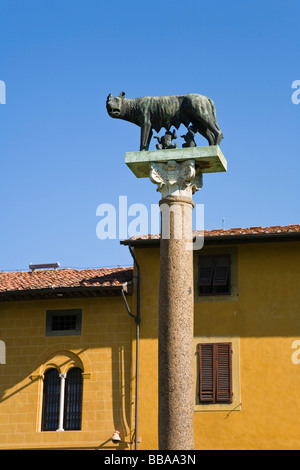 Capitoline Wolf, brothers Romulus and Remus, children of the god Mars, founders of Rome, Piazza dei Miracoli, Pisa, - Stock Photo