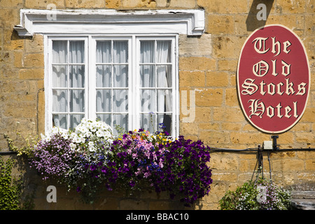 The Old Stocks Hotel, Stow on the Wold, Gloucestershire, UK - Stock Photo