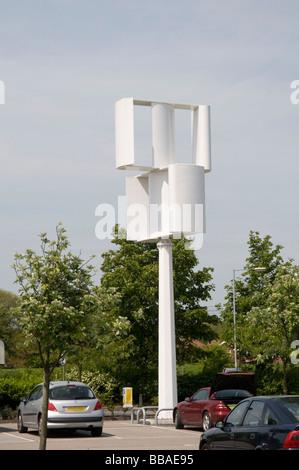 vertical axis wind turbine turbines farm farm generator generators windmill windmills renewable energy power powered - Stock Photo