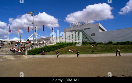 Huge exhibition centre in East London Docklands built on the north side of the former Albert Docks - Stock Photo