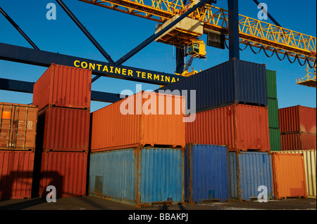 Containers in stacks at port - Stock Photo